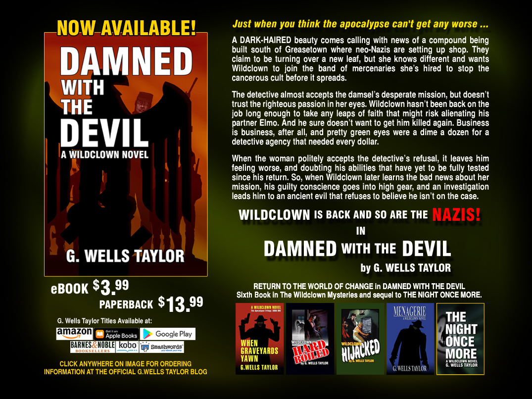 Description: http://www.gwellstaylor.com/DamnedWithTheDevil_WildclownNovel_index.jpg